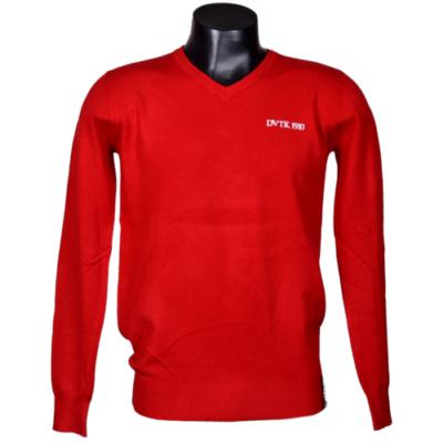 DVTK Special - piros, V-nyakú kötött pulóver