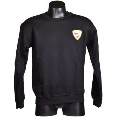 Fekete gyerek környakas címeres pulóver