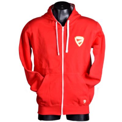 Piros zipzáros címeres pulóver