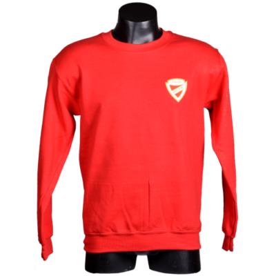 Piros környakas címeres pulóver