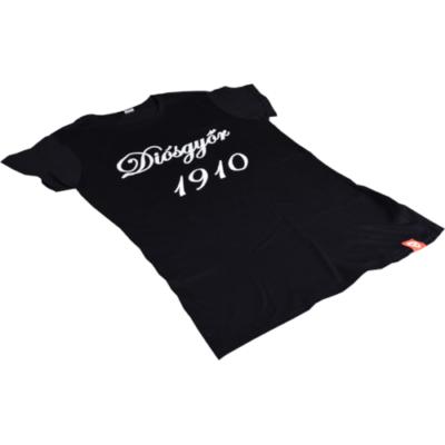 """Női - fekete, környakas, """"Diósgyőr 1910"""" feliratos póló"""