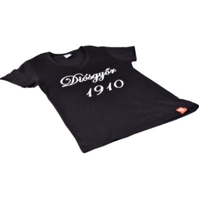 """Női - fekete, V-nyakú, """"Diósgyőr 1910"""" feliratos póló"""