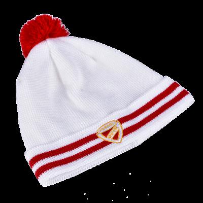 Fehér kötött sapka fehér DVTK címerrel - gyerek
