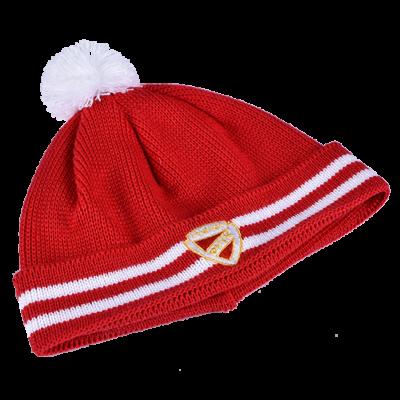 Piros kötött sapka fehér DVTK címerrel - felnőtt