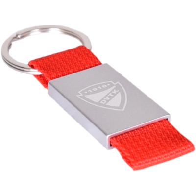Piros vászon + fém, DVTK címeres kulcstartó