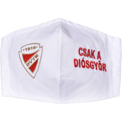 Hímzett DVTK címeres maszk - fehér